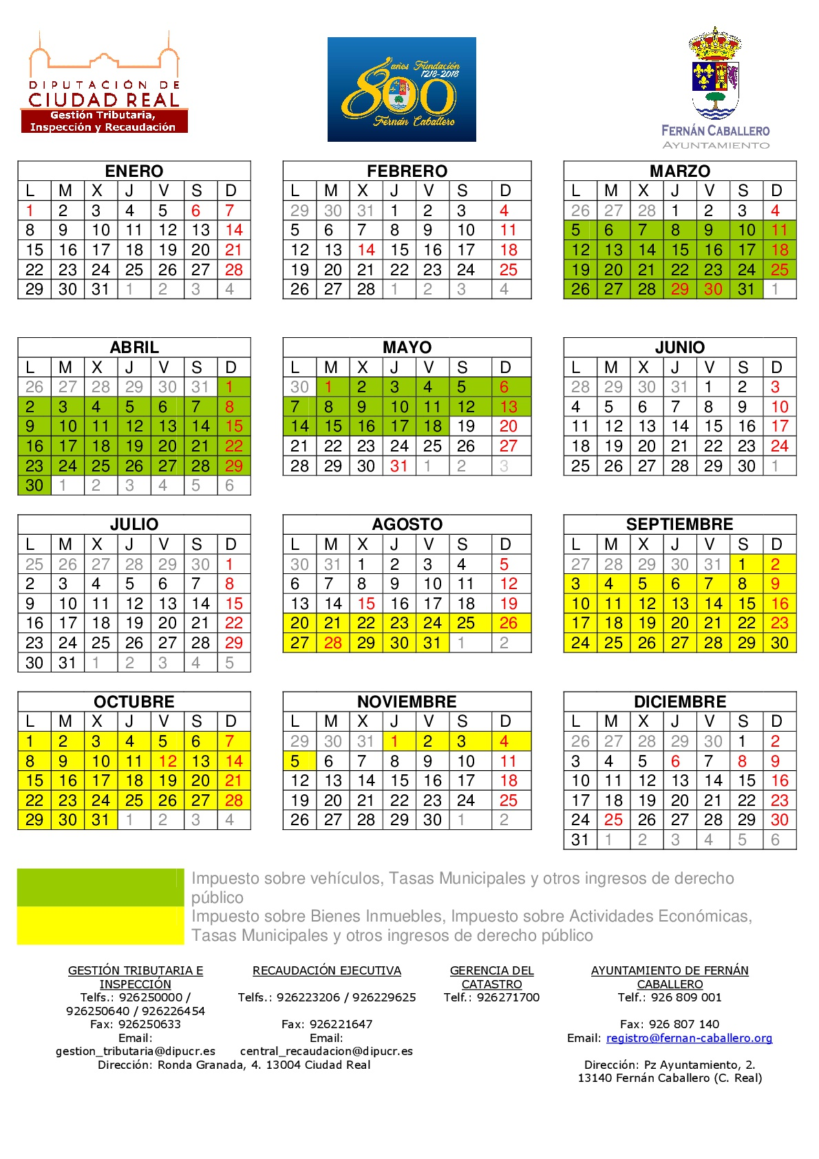 Calendario Periodo de pago en voluntaria 2018-001
